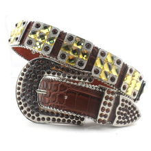 Western crystal buckle set crocodile leather fashion cross concho rhinestone women belts