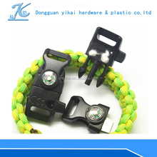 High Quality Climbing flint fire starter/ Survival whistle buckle//paracord whistle buckle