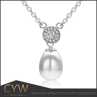 CYW Guangzhou fashionable 925 sterling silver necklace imitation pearl necklace jewellry wholesale alibaba