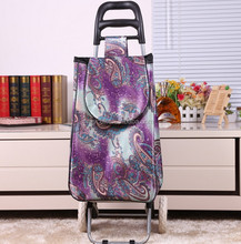 Reusable vegetable shopping cart trolley bag with foldable handle