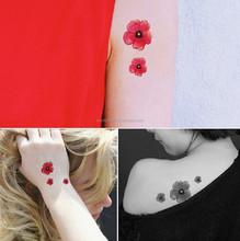 Hldiy 2 folhas pequena flor rosa projeto tatuagem temporária adesivos transferência do tatuagem do corpo
