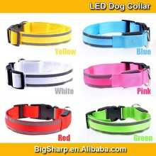 New illumination Colour Sharp nylon LED dog collar with reflective strip glowing flashing safety protect your dog at night