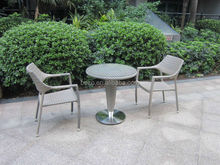 Outdoor Round Rattan Table And Chair / Garden small glass table chair set