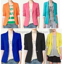 2015 OEM Wholesale Ladies Formal Solid Celebrity Style Women Foldable Candy Coloured Slim Fit Suit Jacket Coat Blazer