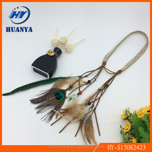 New Arrival Bohemia wood beads peacock feather suede braided headband/hair wrap/hair band