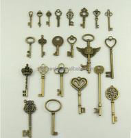 vintage lock heart charm and key pendant custom bronze charm for bracelet