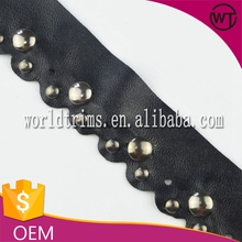 Wholesale black pu leather trim for clothing with studs WTA128