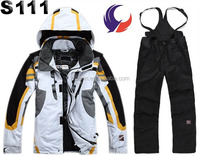 Top quality adult padded waterproof windbreaker snow ski suits for men S111