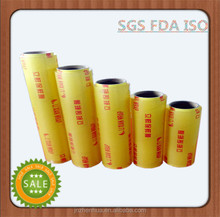 SGS FDA food wrap super clear good elasticity pvc 1500m 9mic cling film plastic