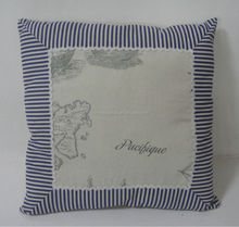 Linen and Cotton lightbrown color square shape pillow with ocean design for home decoration