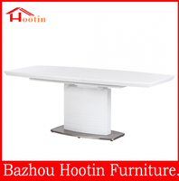 hot sale modern white high gloss large extendable dining table