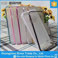 4.7inch Glister Back Clean TPU Cover with Colorful Plastic Bumper for iphone 6