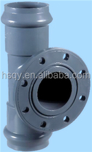 Good quality PVC tee with flange and rubber joint