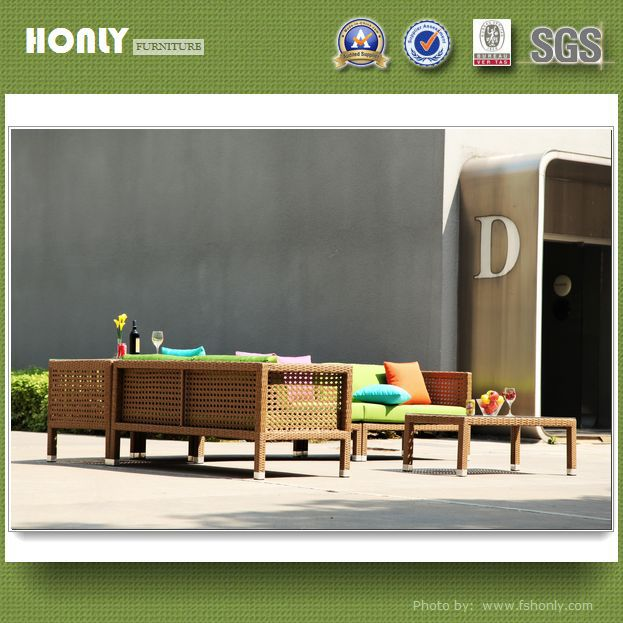 Colorful rattan corner sofa aluminium frame synthetic rattan corner sofas