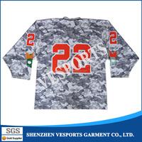 wholesale digital sublimation printing 100% Polyester hockey jersey custom camo