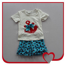 Carters China Wholesale Short Sleeve Anchor T-shirt And Casual Ruffle Polka Dots Short Export Baby Clothes