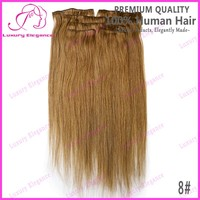 Cheap Straight Light Brown Color 8# Clip-in Peruvian Pair Human Hair Extensions