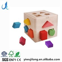 High quality 13 holes wooden toys,customize educationa wooden shape sorter box