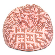 Red geometric pattern polyrster fabric bean bag lounge chair TV beanbag chair