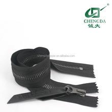 Gun metal zipper with leather puller