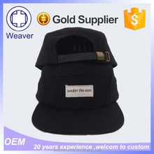 Black flat cap short brim cap with metal back closure