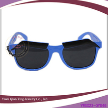 new design cheap blue colored party glasses with eyebrow