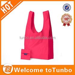 2015 Folding nylon tote bag folding bag into pouch shopping bag with logo