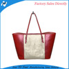 red PU leather ladies beautiful new design tote shopping bag
