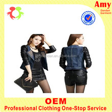 Fashion girls jean suit jacket with leather sleeves for girls