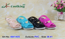 2015 Coolking PVC sandal NEW designs cheap price high quality Manufacturer Jelly shoes wholesale Girls latest high heel sandals