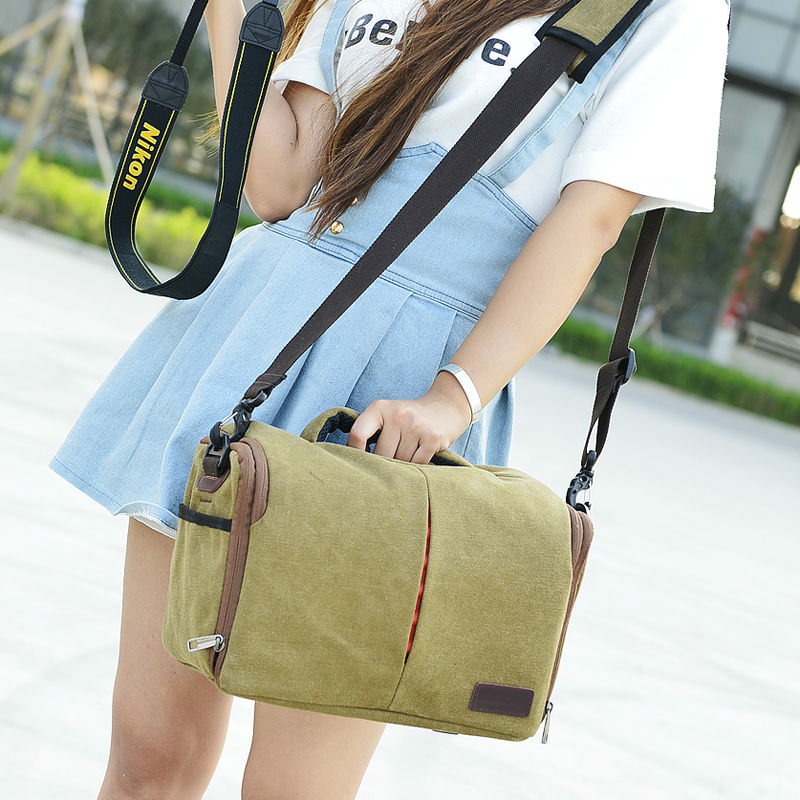 fancy chic waxed canvas camera shoulder bag