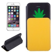Unique Design Pineapple Pattern Leather Flip Case for iPhone 6 with Holder & Card Slot
