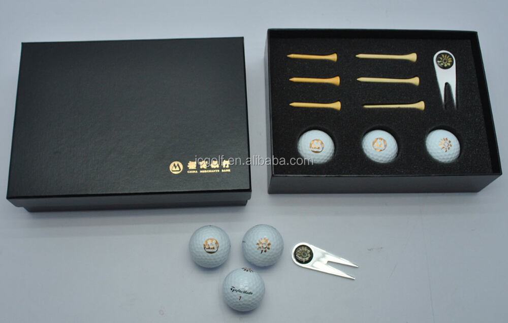 Golf Ball Logo Black Custom Golf Ball And Tees Divot Tool Black Paper Box Golf Gift Set