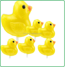 mini yellow duck with long stick sweet lollipop candy