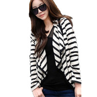Classic new arrival black and white stripe 3size cotton and polyester cheap price ladies cardigan women's coat