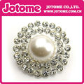 Large Flatback Pearl and Rhinestone Silver Metal Buttons, 26mm