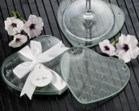 Live Love Laugh Forever Heart Glass Coasters for wedding