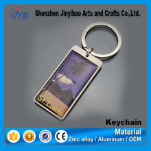 rectangle shape beach sunshine keyring custom picture inside keychain