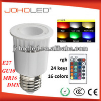 with IR remote controller lighting 3 in 1 cob led rgb e27 3w 5w