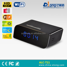 2015 new technology AP function, no need internet, 100 degree wide angle, 1.0MP 720P HD, table clock security camera(ALC-T11)