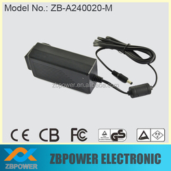 interchangeable plug power adapter, 24V dc power supply with UL CE GS approved
