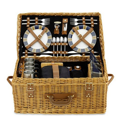 Luxurious big willow picnic hamper with cutlery,plate,cups,wine glasses