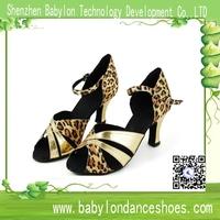 Manufacturers Wholesale latin dance shoes girls ballroom tango shoes leopard satin dancing shoes for women