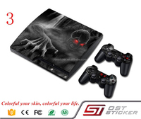 Dark Skull Design Protecive Custom Vinyl decal Skin stickers for PS3 Slim