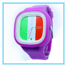 National flag quartz watch stainless steel case back Japan movement for promotion for country-lovers