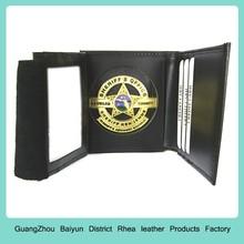 Personalized FBI Federal Bureau Investigations Mens Black Leather Trifold Shield Medallion Sheriff Badge Wallet & holder