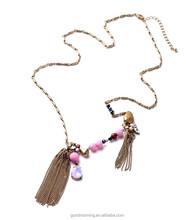 Fashion Jewelry J Brand Crew Copper Chain Long Opal Teardrop Zircon Stone Pendant Tassel Chain Pendant Necklace N2680
