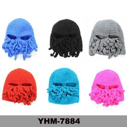 Hot sell Hand knit beard beanie hat Cthulhu Ski Mask ski hat with Tentacles, Crochet Octopus Hat