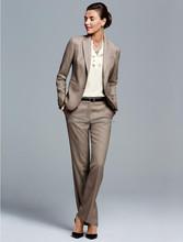 Encargo de color caqui de dos botones de lana de Negocios Formal mujer trajes de Negocios Ternos ( chaqueta + pantalones ) WS001 mujeres trajes con pantalones