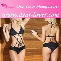 High quality black hot sell fashion Strappy women sexy one piece bikini